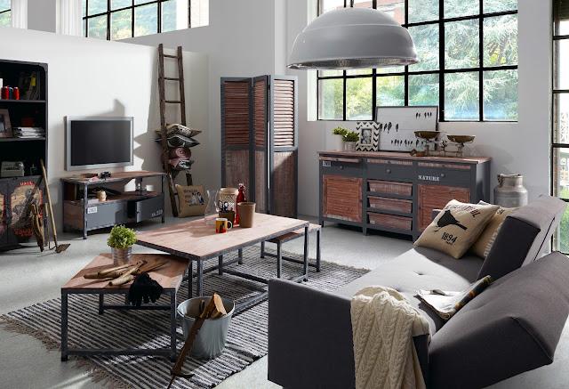 Sala Con Decoración Industrial