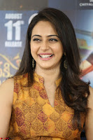 Rakul Preet Singh smiling Beautyin Brown Deep neck Sleeveless Gown at her interview 2.8.17 ~  Exclusive Celebrities Galleries 130.JPG