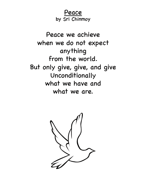 Peace Poem by Sri Chimnoy: Free Printable