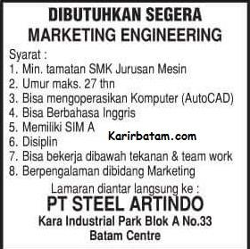 Lowongan Kerja PT. Steel Artindo