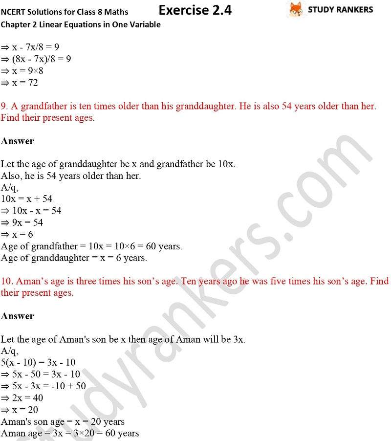 NCERT Solutions for Class 8 Maths Chapter 2 Linear Equations in One Variable Exercise 2.4 Part 4