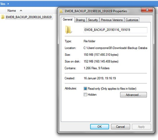 Folder Hasil Backup Database