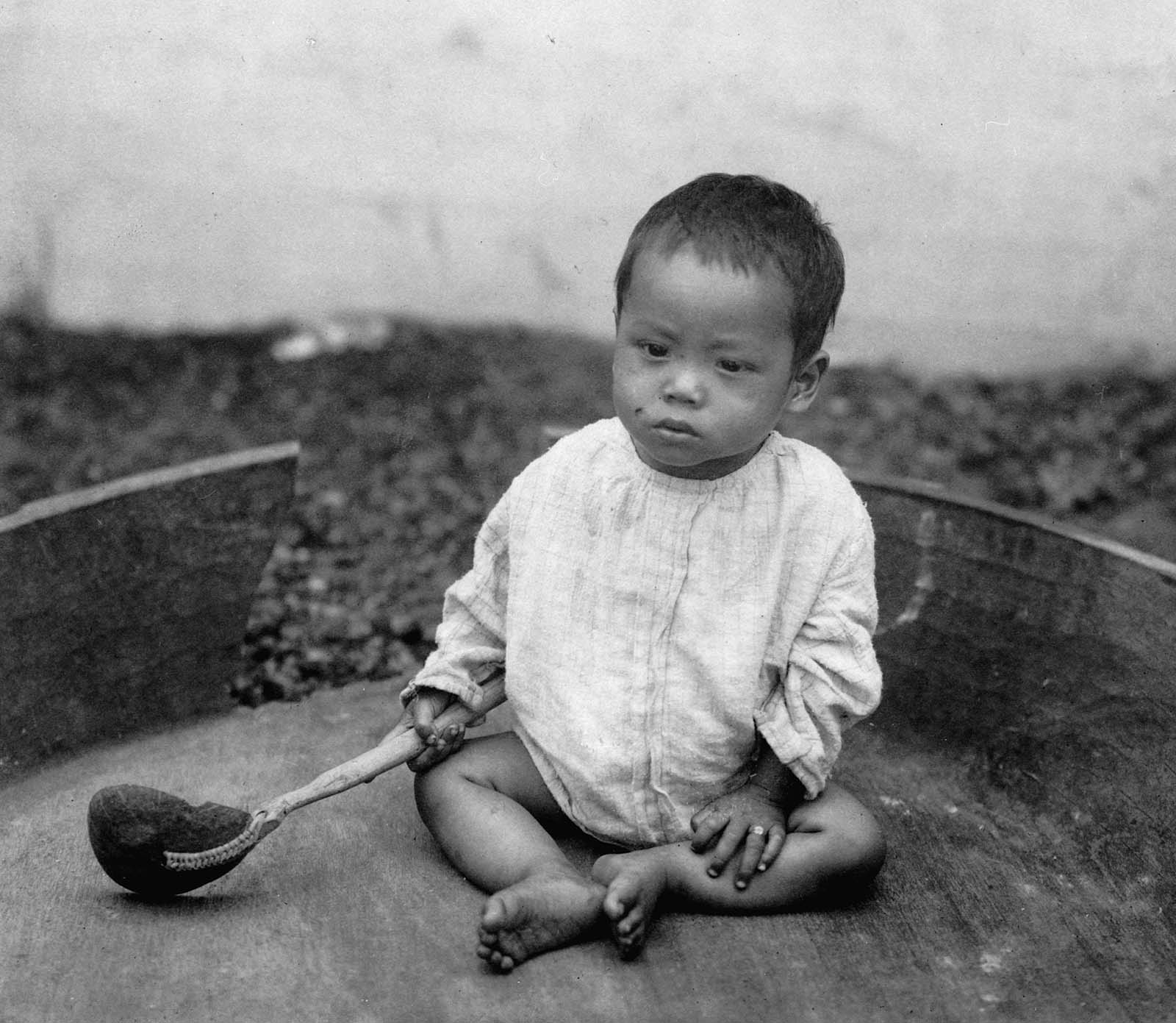 Even children and babies were treated as displays in the human zoos. This youngster was among others at the World's Columbian Exposition in Chicago, Illinois in about 1891.