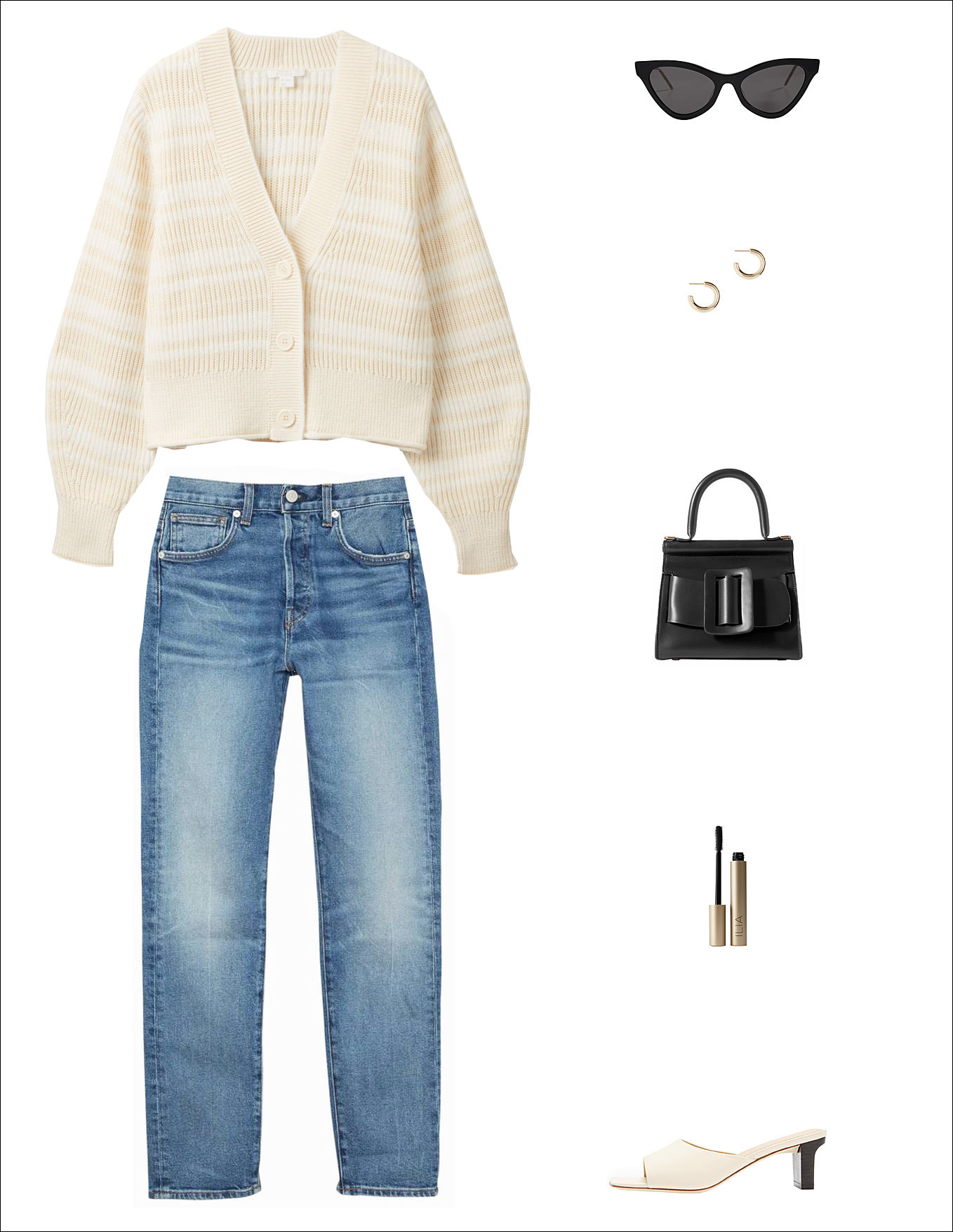 A Chic Way to Wear a Cozy Cardigan for Spring — Outfit idea with a COS striped cardigan, black Gucci cat-eye sunglasses, hoop earrings, a standout mini bag, '90s-inspired CQY slim jeans, and minimalist Aeyde slip-on sandals