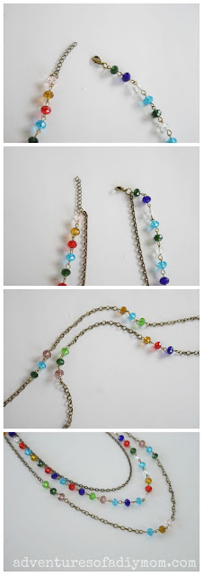 Easy Beaded Chain Multi-Strand Necklace