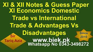 XI Economics Domestic Trade vs International Trade & Advantages Vs Disadvantages