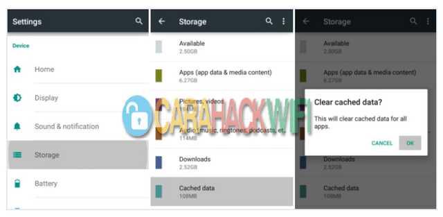 Membersihkan Cache data pada android