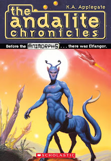 A blue centaur-like alien (Elfangor the Andalite) stands with a sun framed behind his head