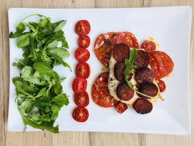 Dos de cabillaud au chorizo et à la tomate - IG bas