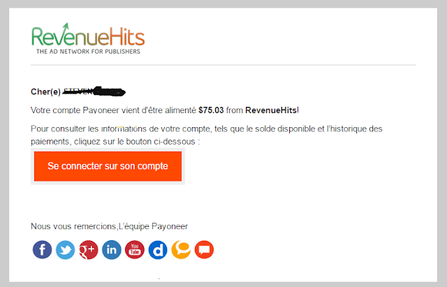 RevenueHits payment Proof