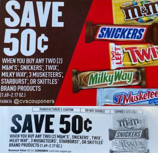 $0.50 of 2 M&M's, Snickers, Twix tear pad coupon EXP 5-31-21
