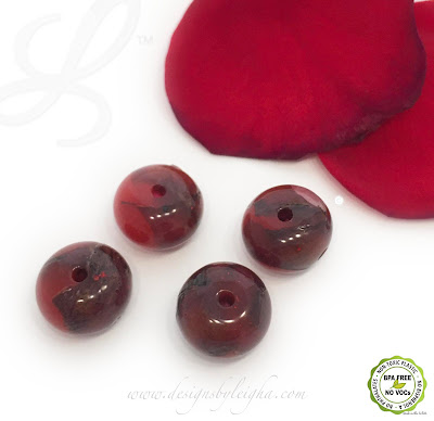 Red Rose Flower Beads - Rondelle Shapes - 2 sizes