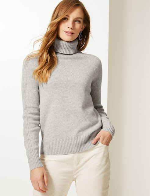 marks and spencer lambswool rich textured roll neck jumper