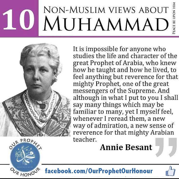 Annie Besant view about Prophet Muhammad (PBUH) by Ummat-e-Nabi.com