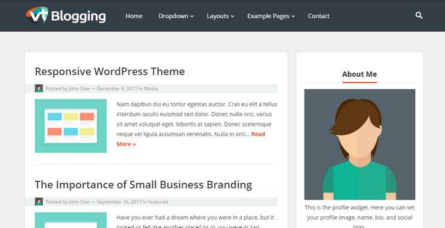 VT Blogging Responsive Wordpress Themes
