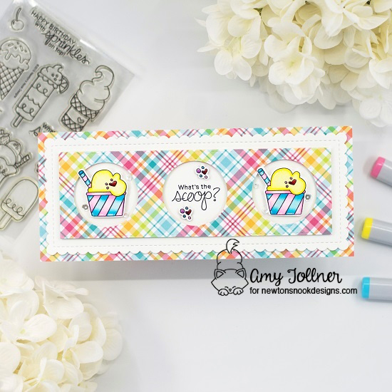 What's the scoop by Amy features Summer Scoops and Slimline Frames & Portholes by Newton's Nook Designs; #newtonsnook, #inkypaws, #cardmaking, #summercards