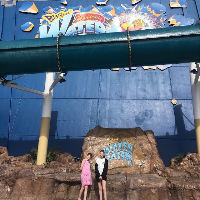 stephs two girls in front of Blackpool Sandcastle waterpark