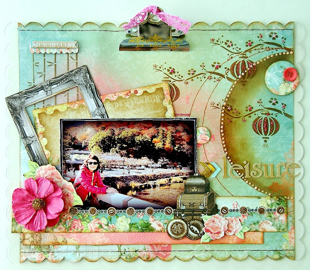 Leisure Altered Clipboard by Irene Tan using BoBunny Soiree Collection