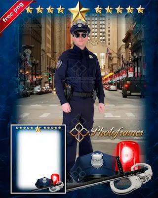 marco para fotos de agente policial.