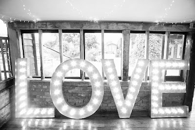 Large LED lights that spell LOVE