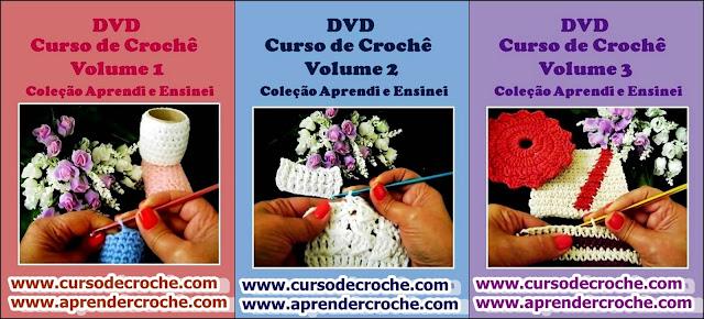 cursodecroche iniciantes dvd 03 volumes loja frete gratis aprendercroche edinir-croche