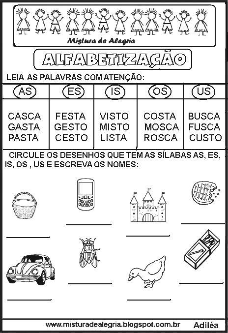 Atividades De Alfabetizacao Das Silabas Complexas Mistura De Alegria