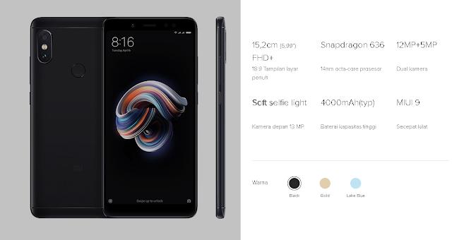 Xiaomi Redmi note 5 HP RAM 4GB Terbaik dengan Harga 2 Jutaan