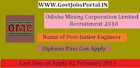 Odisha Mining Corporation Limited Recruitment 2018 – 21 Junior Engineer