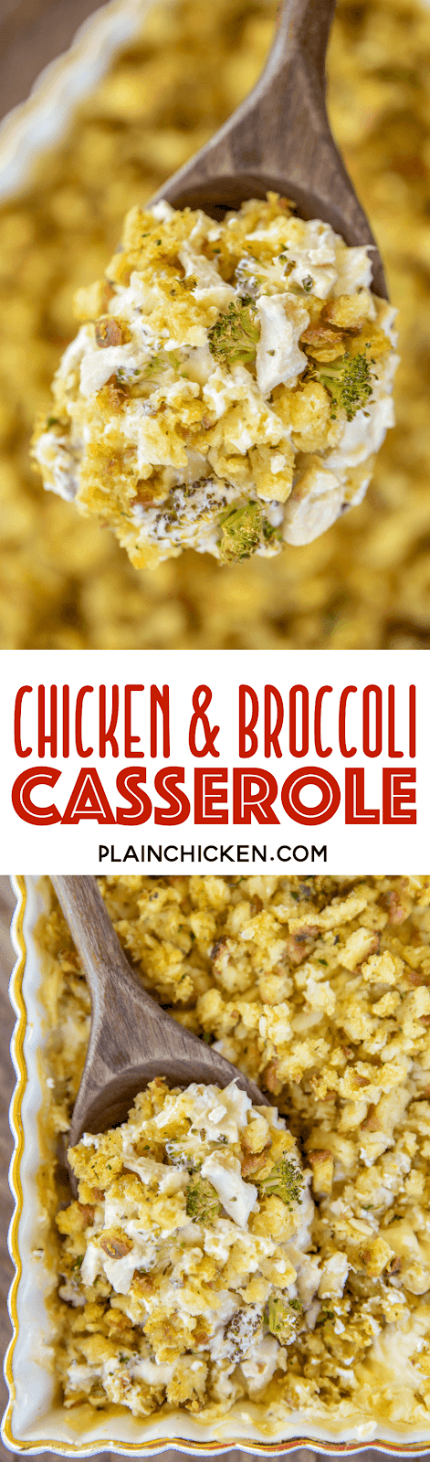collage of 2 photos of chicken broccoli casserole