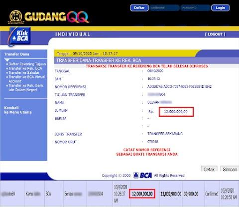 Selamat Kepada Member Setia GudangQQ WD sebesar Rp. 12,000,000.-