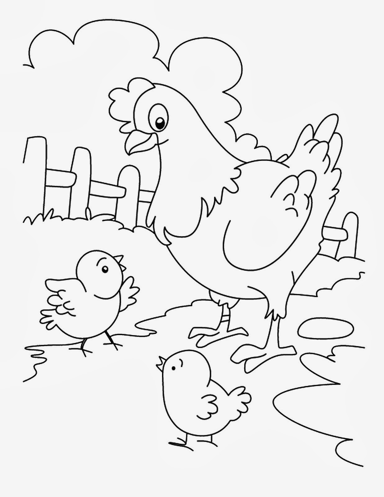 Sketsa Gambar Induk Ayam