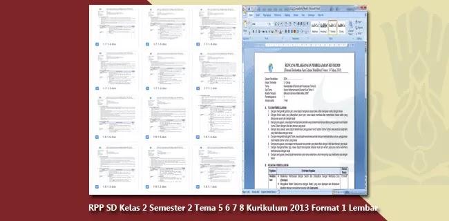 RPP SD Kelas 2 Semester 2 Tema 5 6 7 8 Kurikulum 2013 Format 1 Lembar