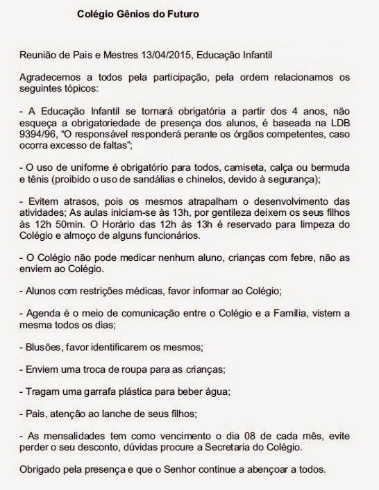 Colégio Gênios Do Futuro Ata Reunião De Pais 1304