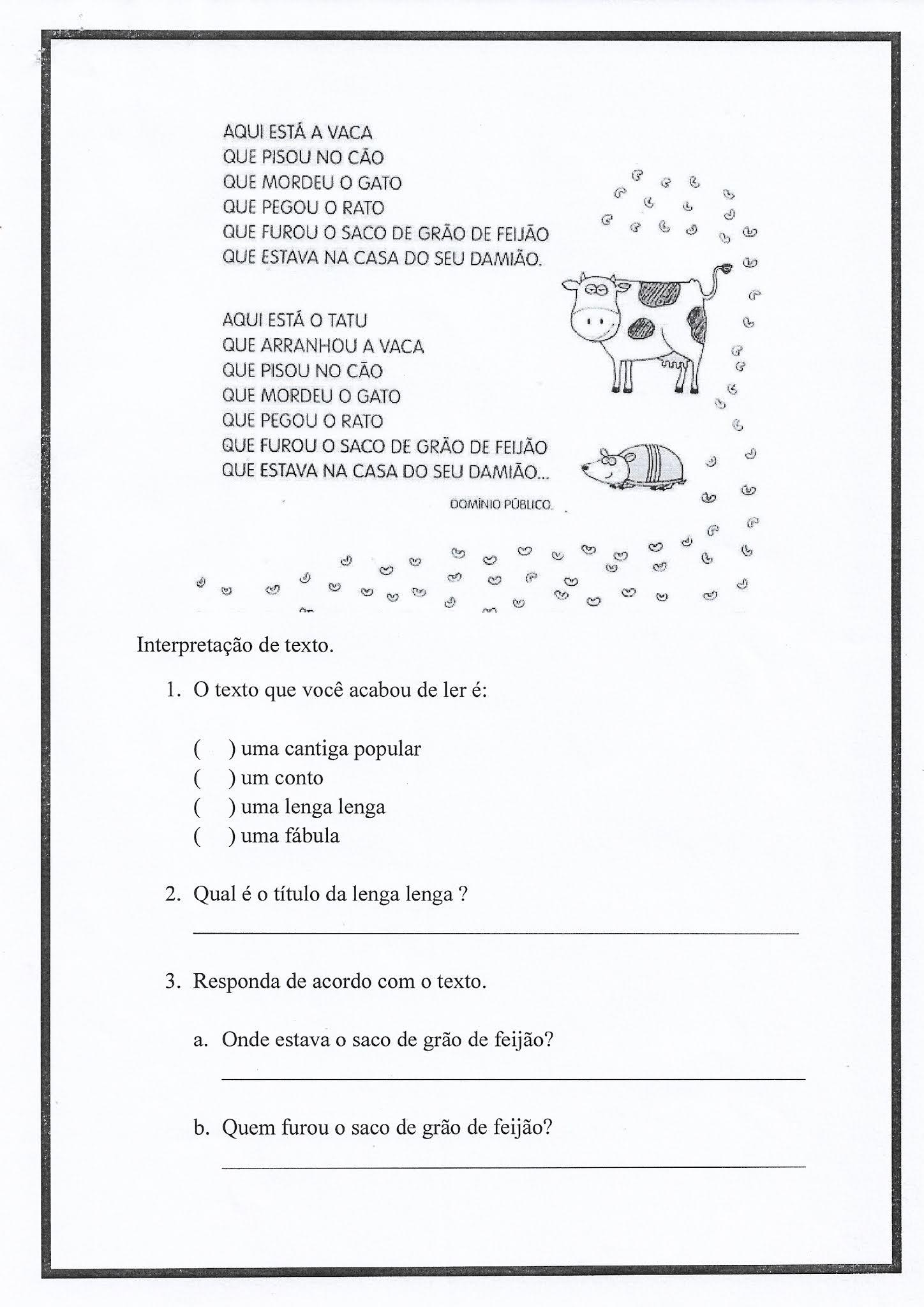 Atividade de Português: Gênero Textual lenga-lenga e cantigas populares