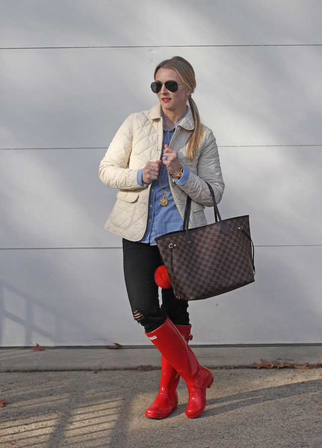 jcrew jacket, louis vuitton neverfull bag, hunter boots