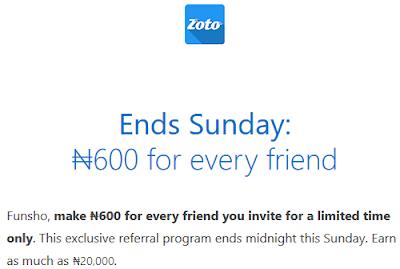Zoto Offer: Earn N600 Airtime Bonus Per Referral, 2 Days Only