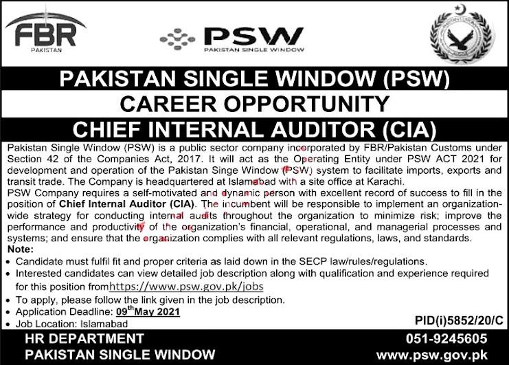 Latest Jobs in Pakistan Single Window PSW 2021 FBR