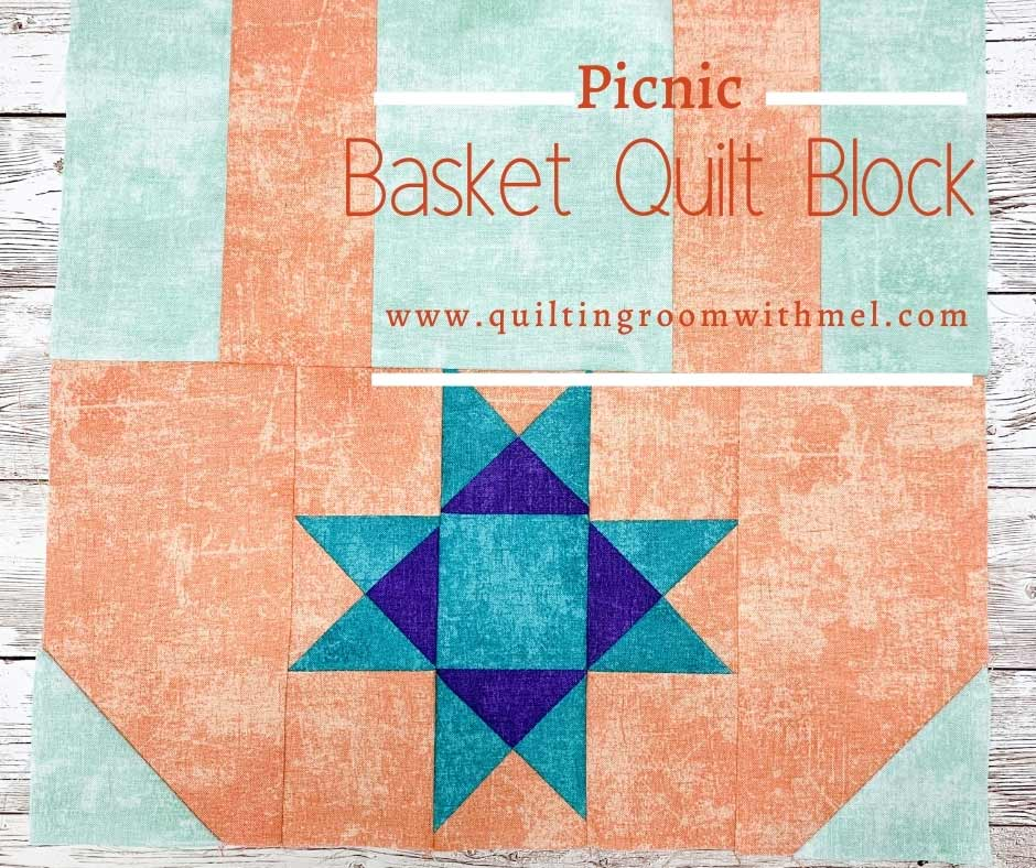 Get this free picnic basket quilt block! It's easy to make, cute, and would make a great table runner for your summer bbq tables.