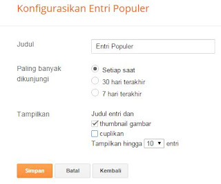 Cara Pasang Widget Popular  Posts