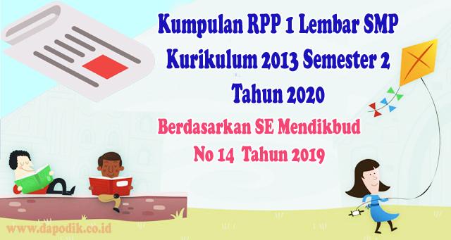Kumpulan RPP 1 Lembar SMP Kurikulum 2013 Semester 2 Tahun 2020