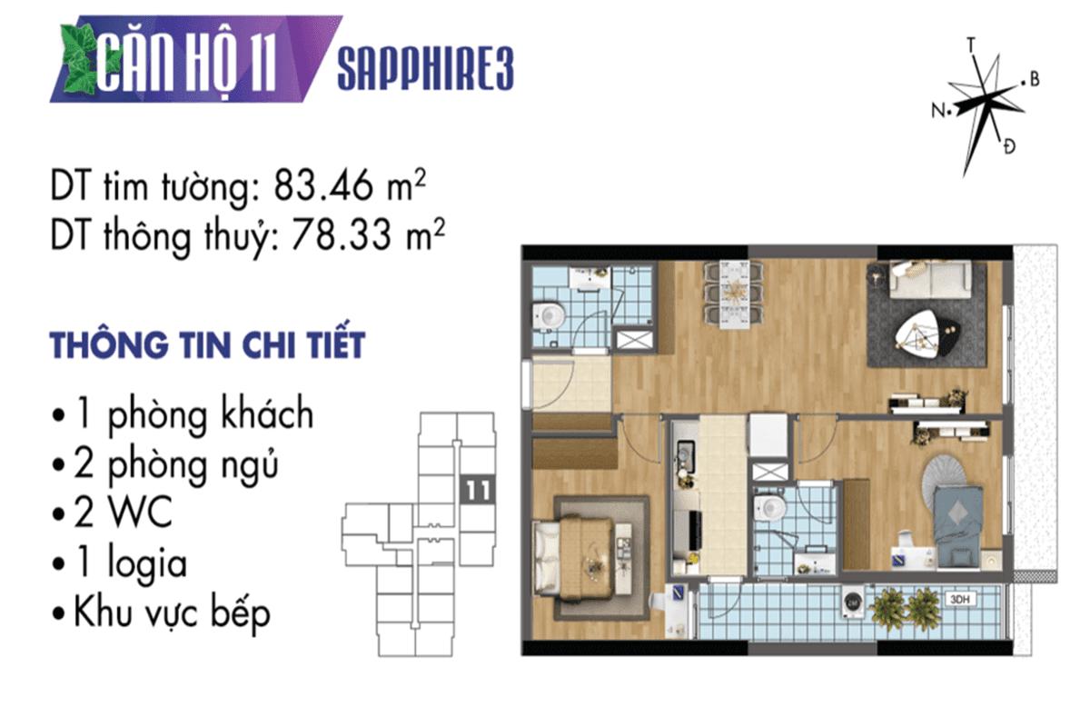 Mặt bằng căn hộ 11 tòa Sapphire 3