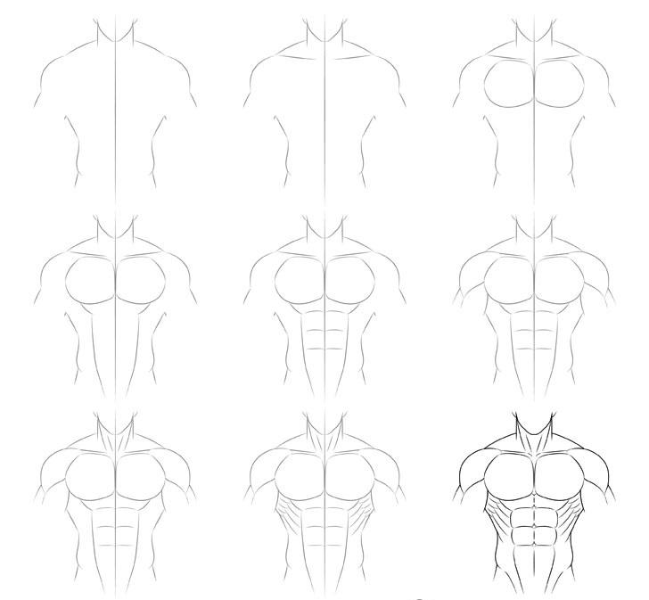 Anime gambar tubuh pria berotot selangkah demi selangkah