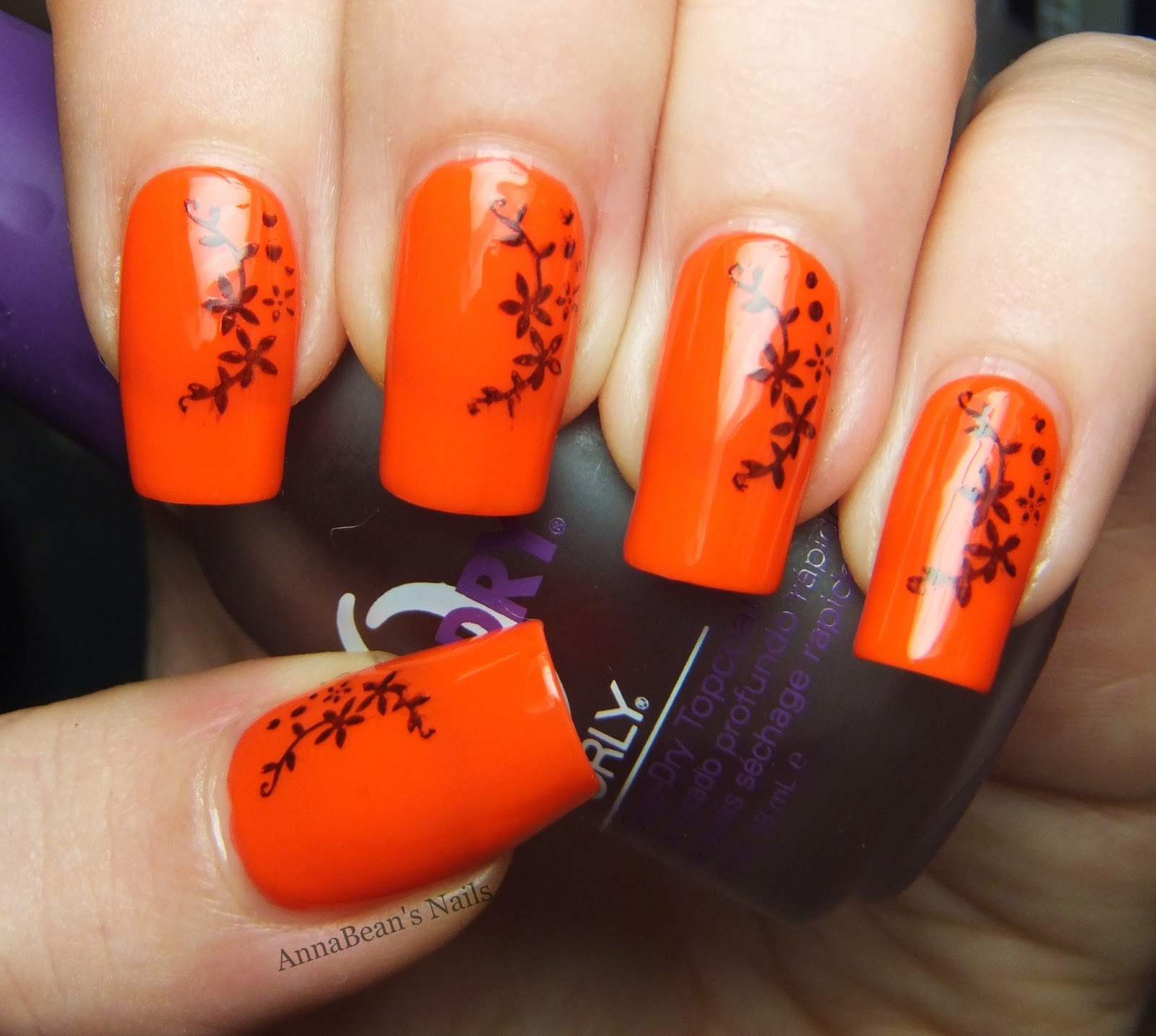 Neon Orange Which Is A Complete Nuisance To Photograph Accurately Upon I Stamped Slightly Oritental Style Floral Design Using Nails Inc Black