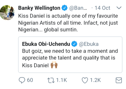 Banky W declares Kiss Daniel one of his favourite artists of all time