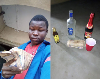 vfk - Photos: Lol... young Nigerian hustler shows off his money and drinks