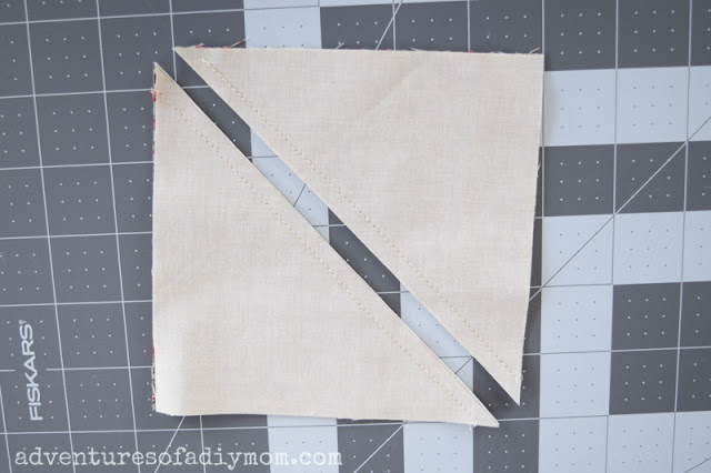 fabric triangles cut from a square