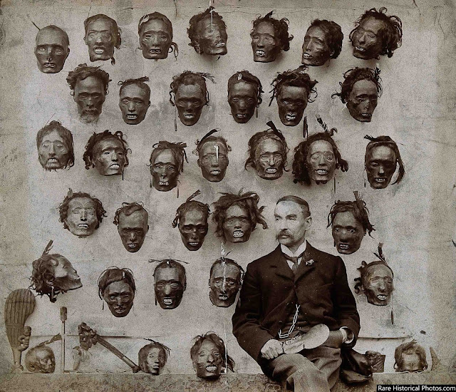 Major General Horatio Gordon Robley with his collection of Mokomokai tattooed heads.