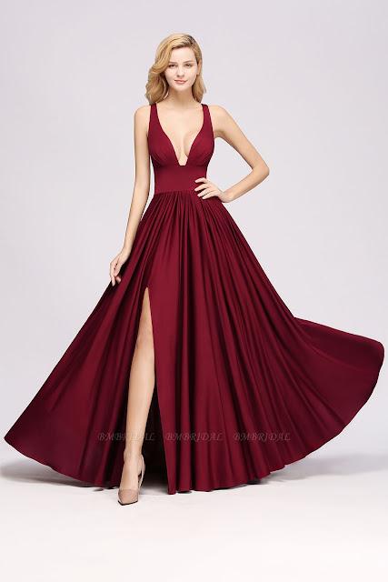 Deep V-Neck Sleeveless Long Bridesmaid Dress