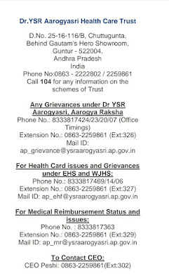 Dr. YS R Arogyasree Health Care Trust ... Complaints Division Phone Numbers.