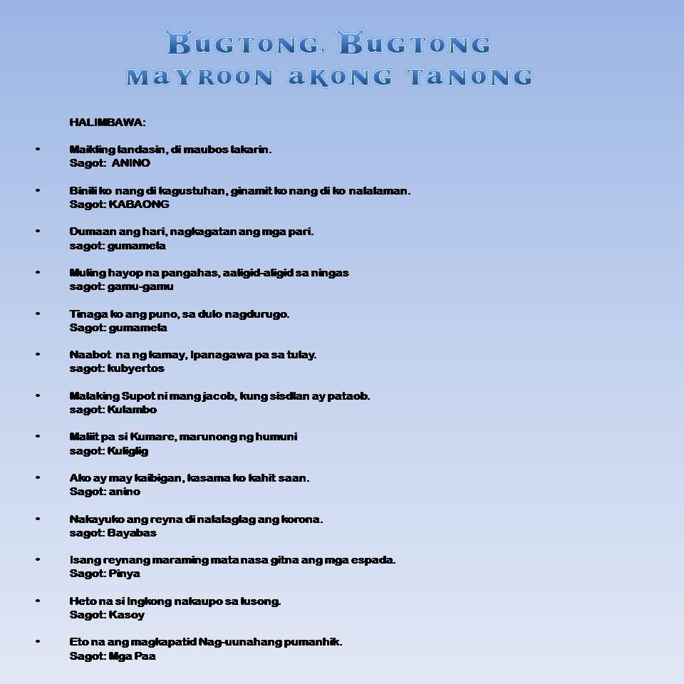 bugtong na cebuano may sagot Definition of bugtong na cebuano in bisaya english bisaya to english translation of bugtong na cebuano is.